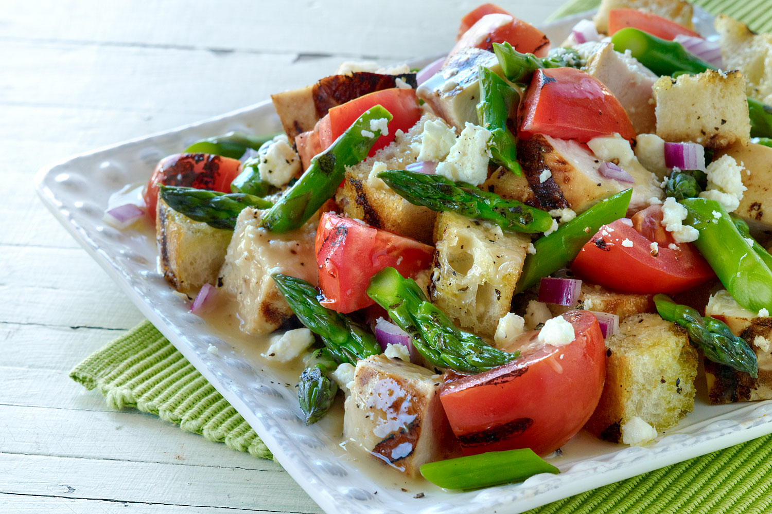 Grilled Chicken and Asparagus Panzanella Salad