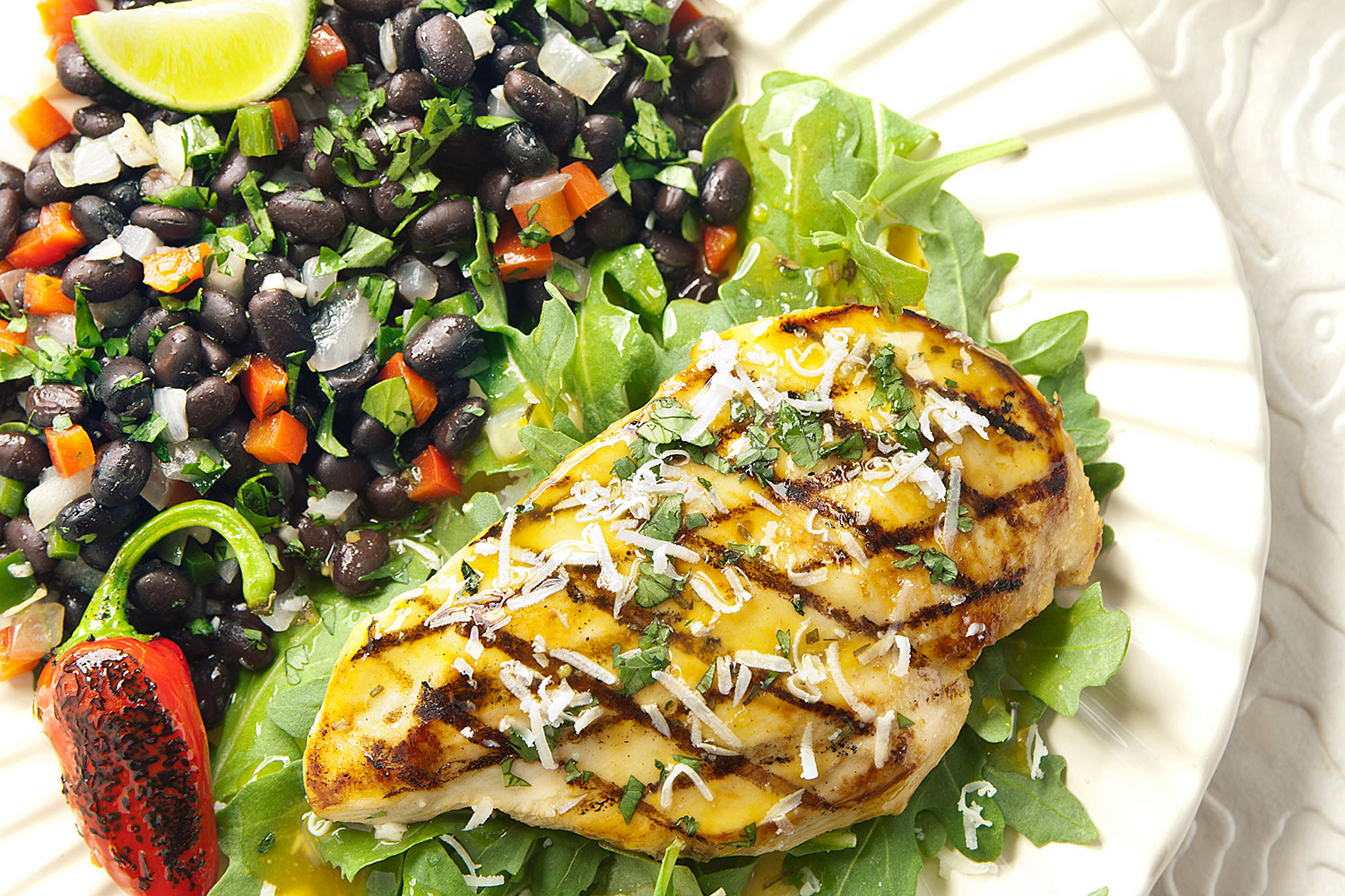 Grilled Lively Lemon Chicken with Cilantro Black Beans