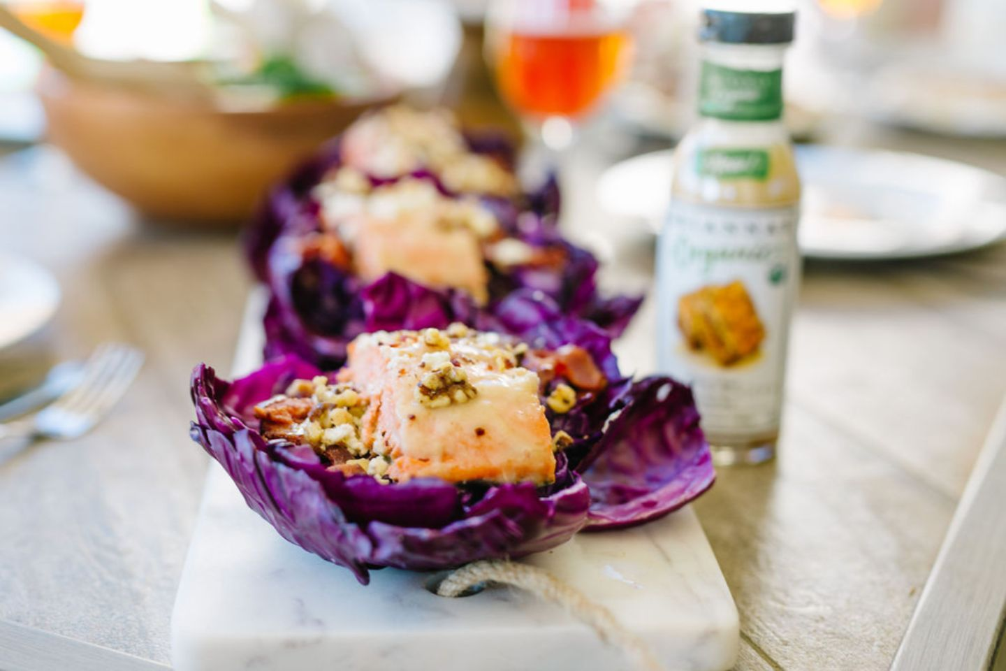 Honey Ginger Salmon and Cabbage Cups