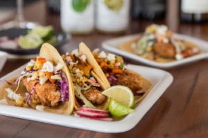 fried halibut tacos on a plate