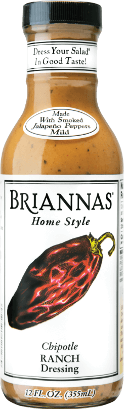 a bottle of Briannas Chipotle Ranch salad dressing